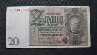 Old Bank Note Of Nazi Germany 20 Reichsmark 1929 Third Reich No.  T23873577 photo