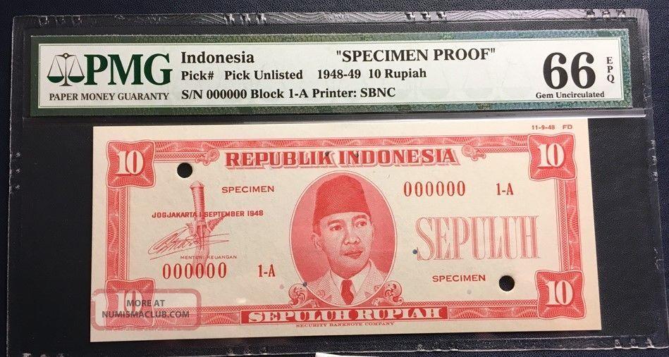 Republik Indonesia 1948 Essay Banknote Specimen 10 Rupiah Pmg Gem Unc 66 Epq Sbn Asia photo