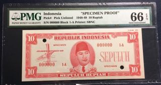 Republik Indonesia 1948 Essay Banknote Specimen 10 Rupiah Pmg Gem Unc 66 Epq Sbn photo