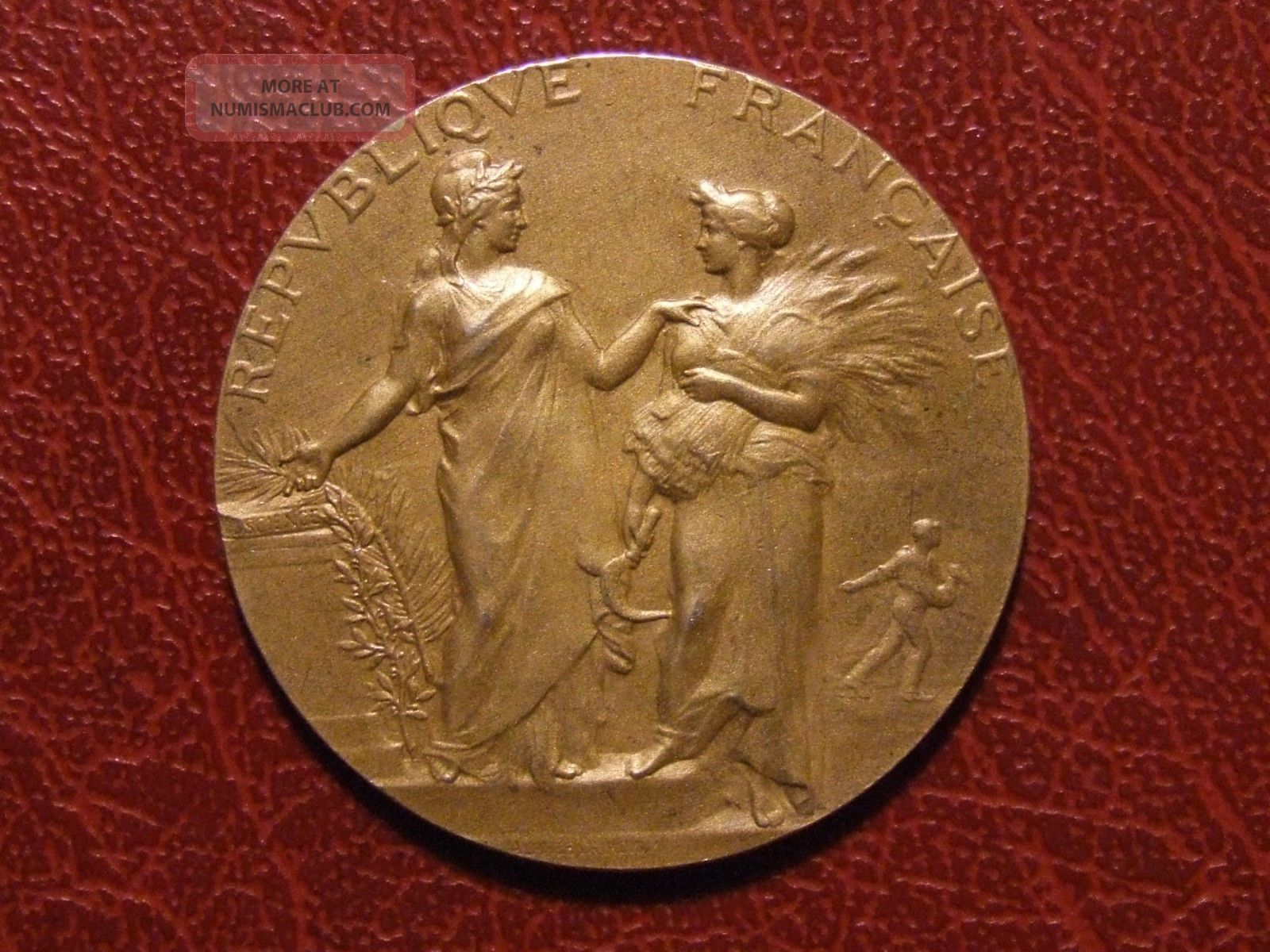 Art Nouveau Agriculture & Science Gold Plated Silver Medal By Alphée Dubois Exonumia photo