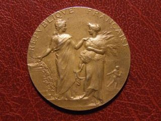 Art Nouveau Agriculture & Science Gold Plated Silver Medal By Alphée Dubois photo