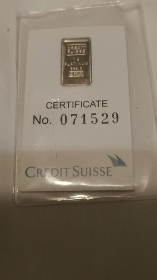 Credit Suisse 1 Gram.  9995 Platinum Bullion Bar photo