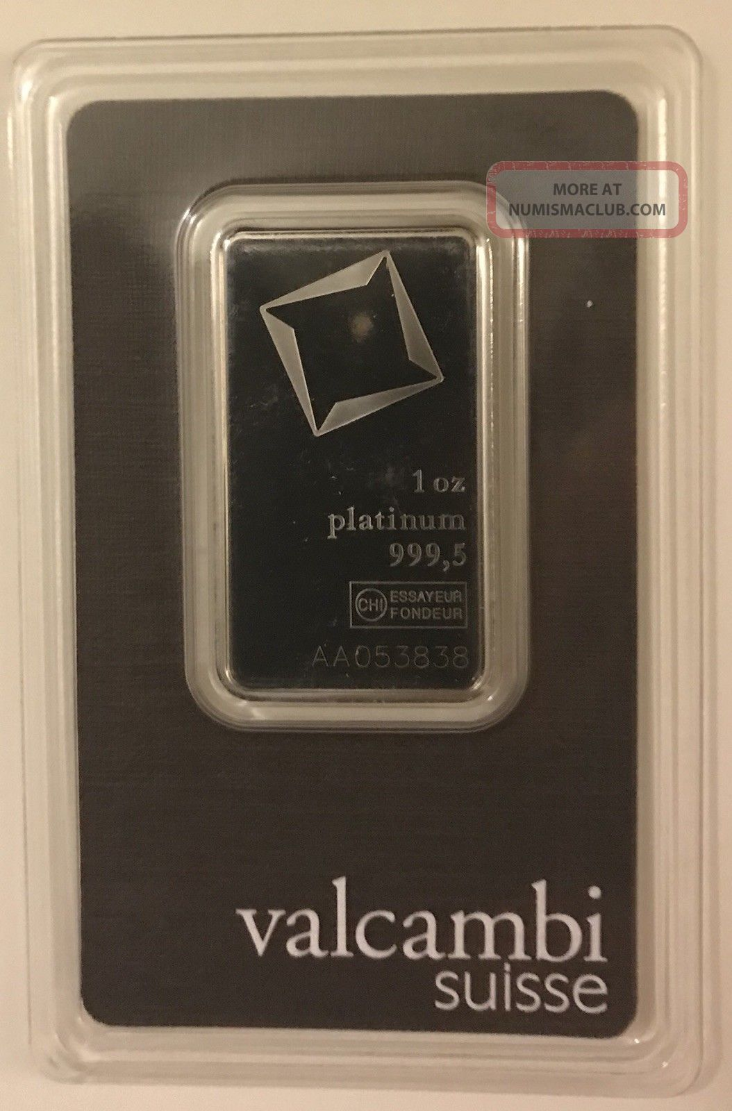 1 Oz.  Platinum Bar - Valcambi Suisse - 999.  5 Fine In Assay Bars & Rounds photo