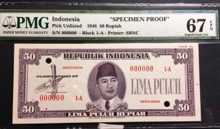 Republik Indonesia 1948 Essay Specimen Note 50 Rupiah Pmg Gem Unc 67 Epq photo