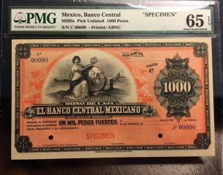 Mexico Banco Central Mexicano Ca.  1900 1000 Pesos Bono De Caja Pmg Gem Unc 65 Epq photo