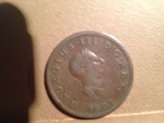A 1807 Britannia 1/2 Penny,  4 Th Issue,  King George Iii. photo