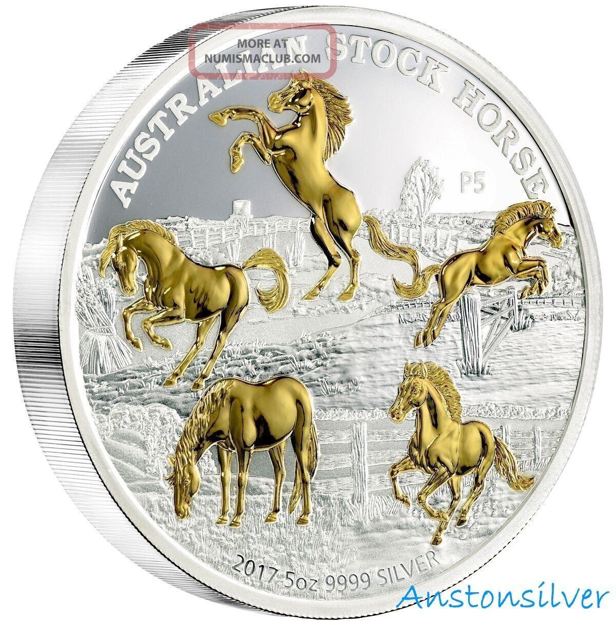 2017 5 Oz Australia Stock Horse - Pure Silver Proof Gilded Coin - In Ogp Australia photo