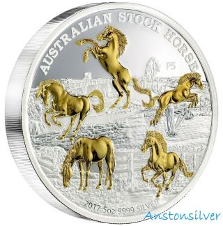 2017 5 Oz Australia Stock Horse - Pure Silver Proof Gilded Coin - In Ogp photo