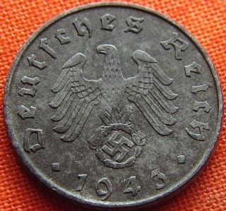 Ww2 German 1943 - G 5 Rp Reichspfennig 3rd Reich Zinc Nazi Coin (rl 1967) photo