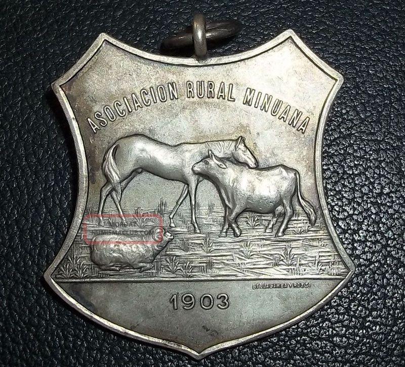 Uruguay 1903 Art Nouveau Rural Farm Expo.  Fair Of Livestock Cattle Horse Sheep Exonumia photo