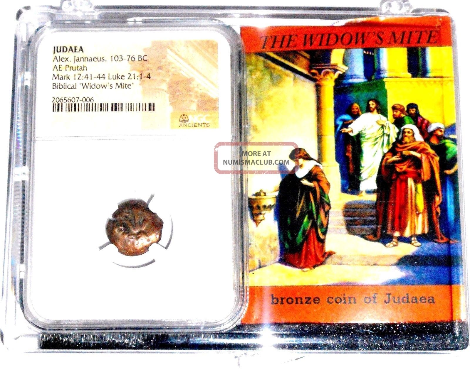 Widows Mite Judean Lepton Of Alex Janeaus Coin,  Ngc Certif With Display Box Coins: Ancient photo