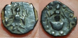 Unofficial Kushan,  Kanishka Ii (ad 230 - 247) Ae Unit – 1.  95 G,  Goebl Type 1017 photo