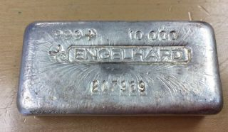 Vintage Engelhard Bull Logo 999 Silver 10 Oz Bar (l23) Highly Collectible photo