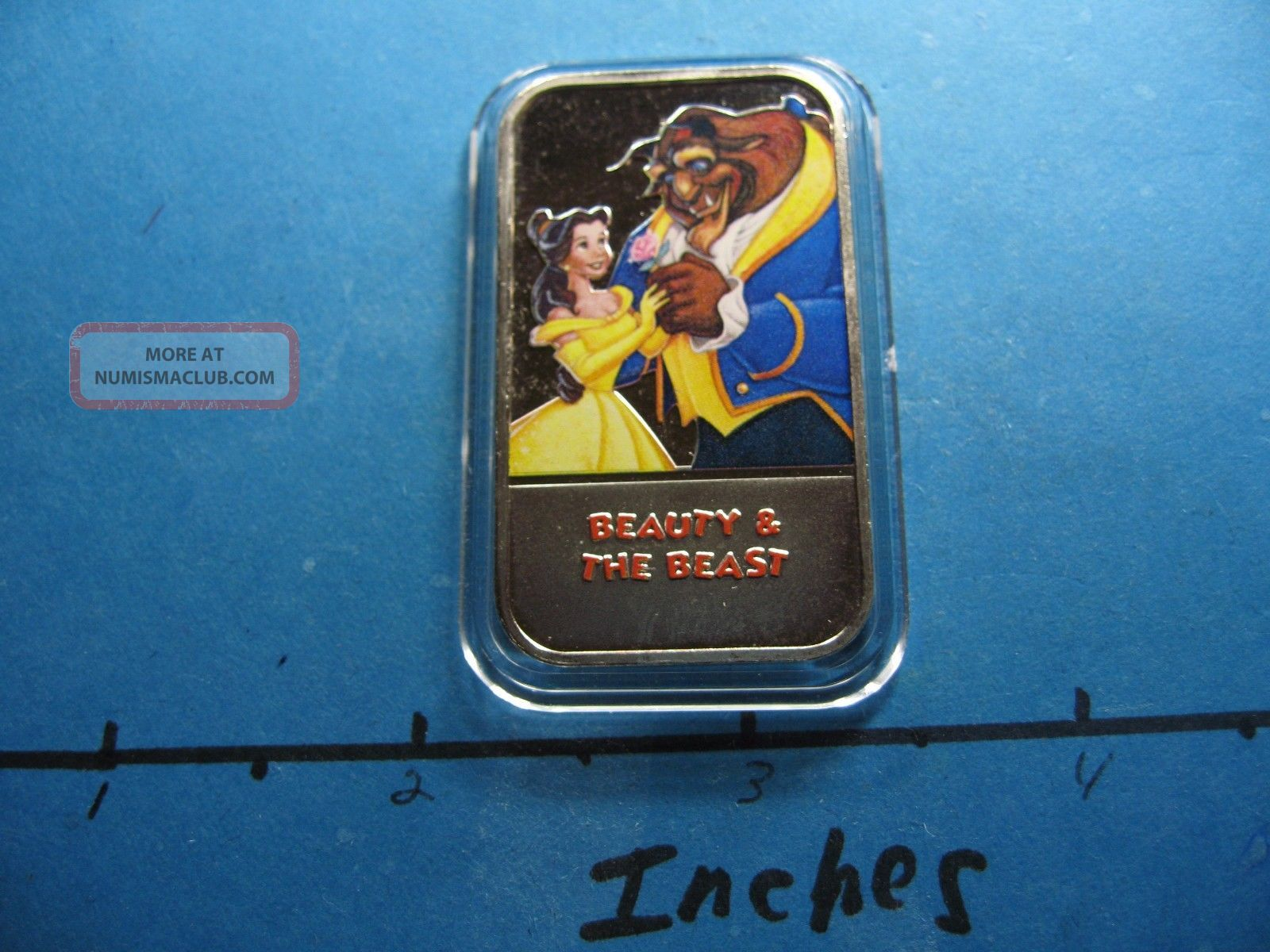 Beauty & The Beast Disney Enamel Usps Very Rare 999 Silver Bar E Silver photo