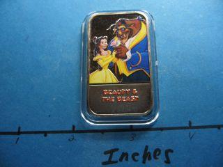 Beauty & The Beast Disney Enamel Usps Very Rare 999 Silver Bar E photo