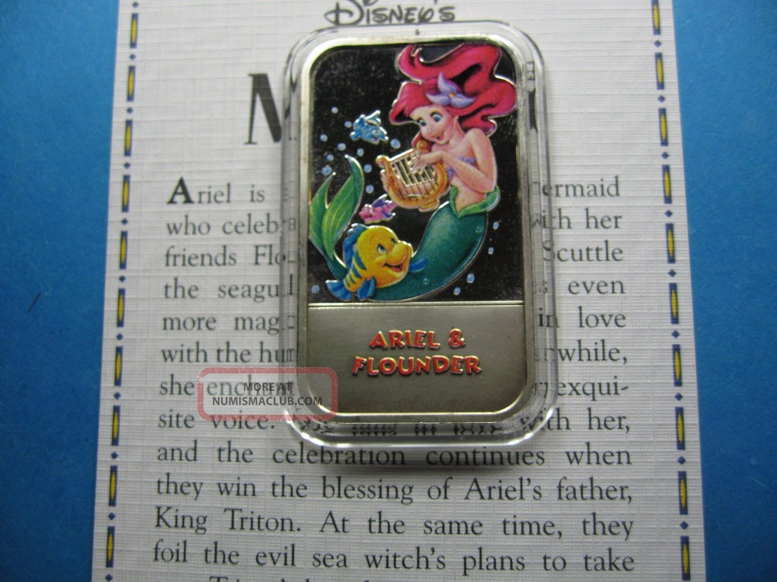 Ariel & Flounder Little Mermaid Disney Enamel Usps Rare Sharp 999 Silver Bar D Silver photo