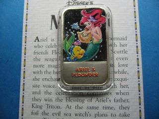 Ariel & Flounder Little Mermaid Disney Enamel Usps Rare Sharp 999 Silver Bar D photo