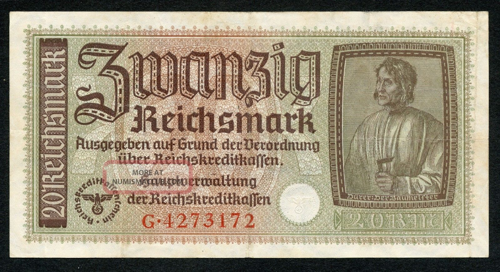 Germany Ww2 20 Reichsmark 1940 - 1945 Series G Vf Europe photo