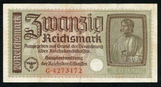 Germany Ww2 20 Reichsmark 1940 - 1945 Series G Vf photo