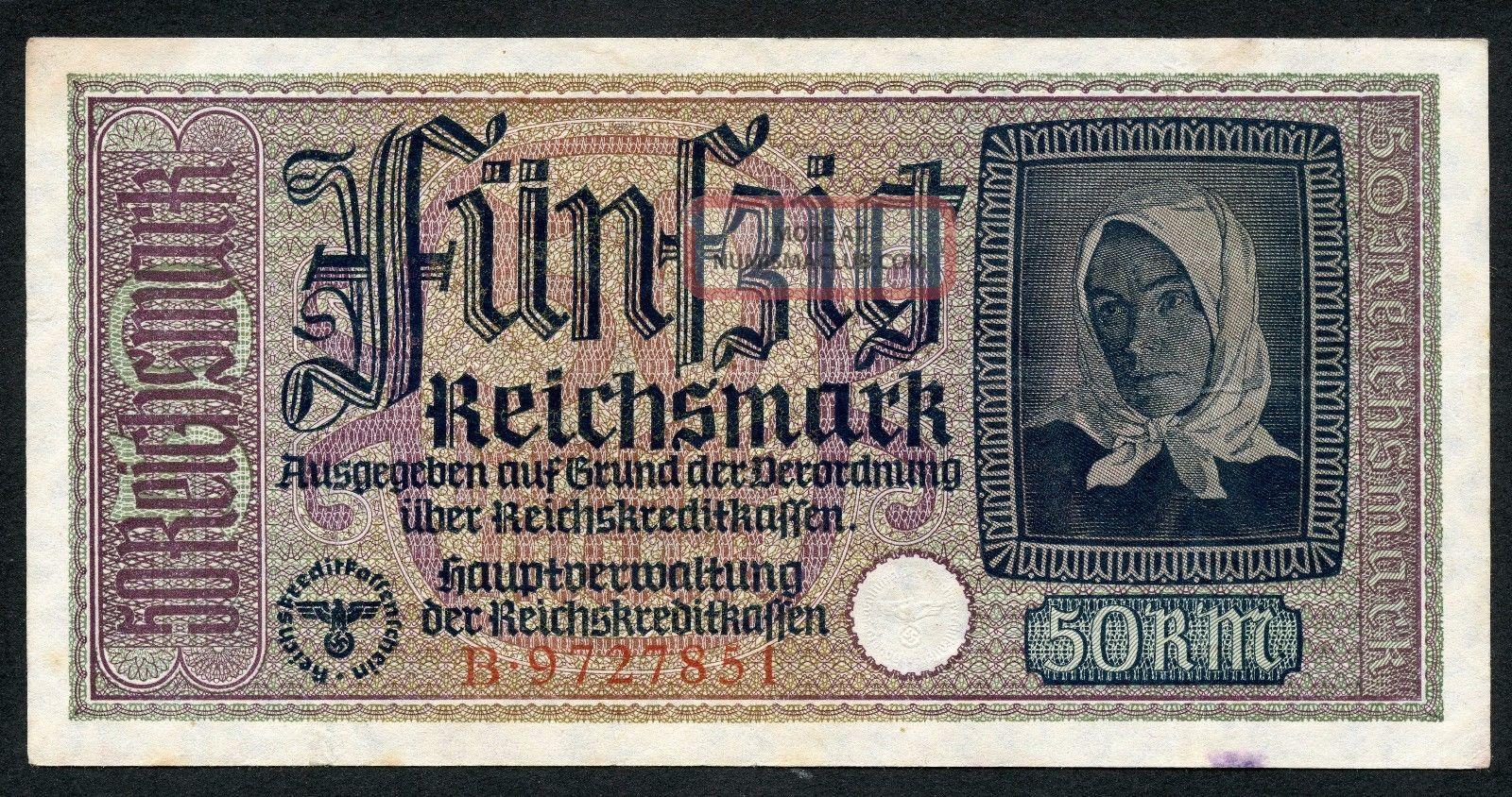 Germany Ww2 50 Reichsmark 1940 - 1945 Series B Vf Europe photo