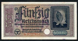 Germany Ww2 50 Reichsmark 1940 - 1945 Series B Vf photo
