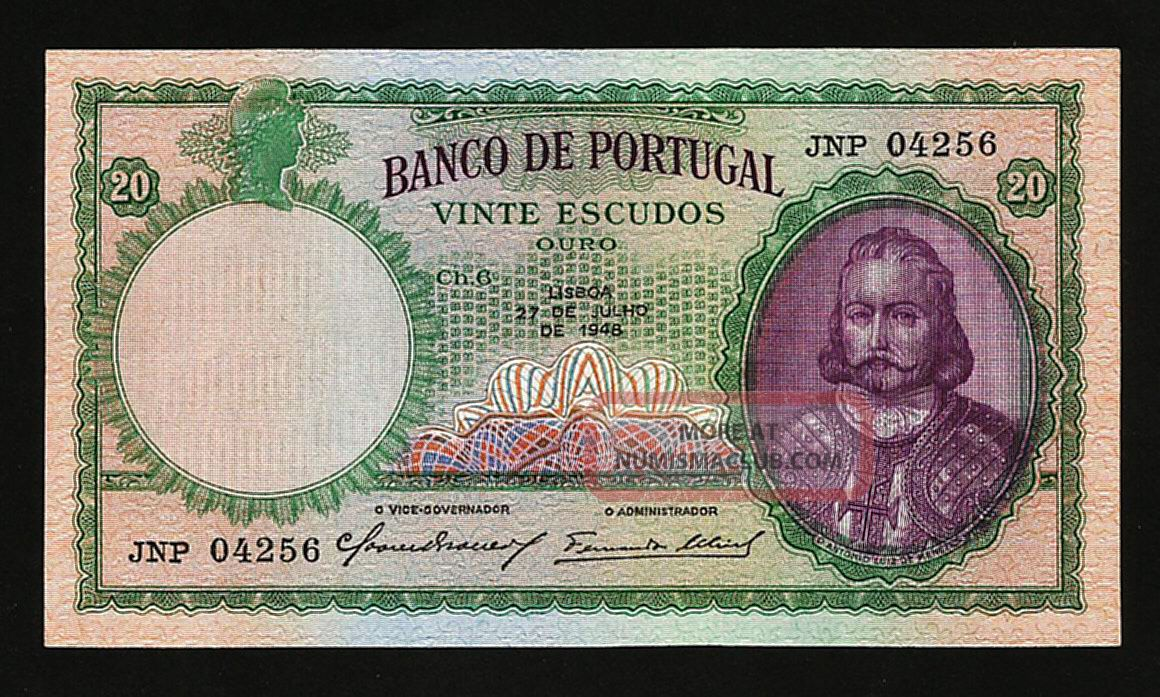 Portugal 20 Escudos 1948 Xf,  P.  153a Europe photo