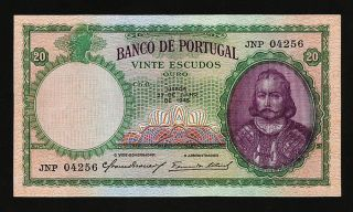 Portugal 20 Escudos 1948 Xf,  P.  153a photo