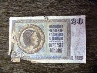 20 Dinara 1936 Yugoslavia Banknote photo