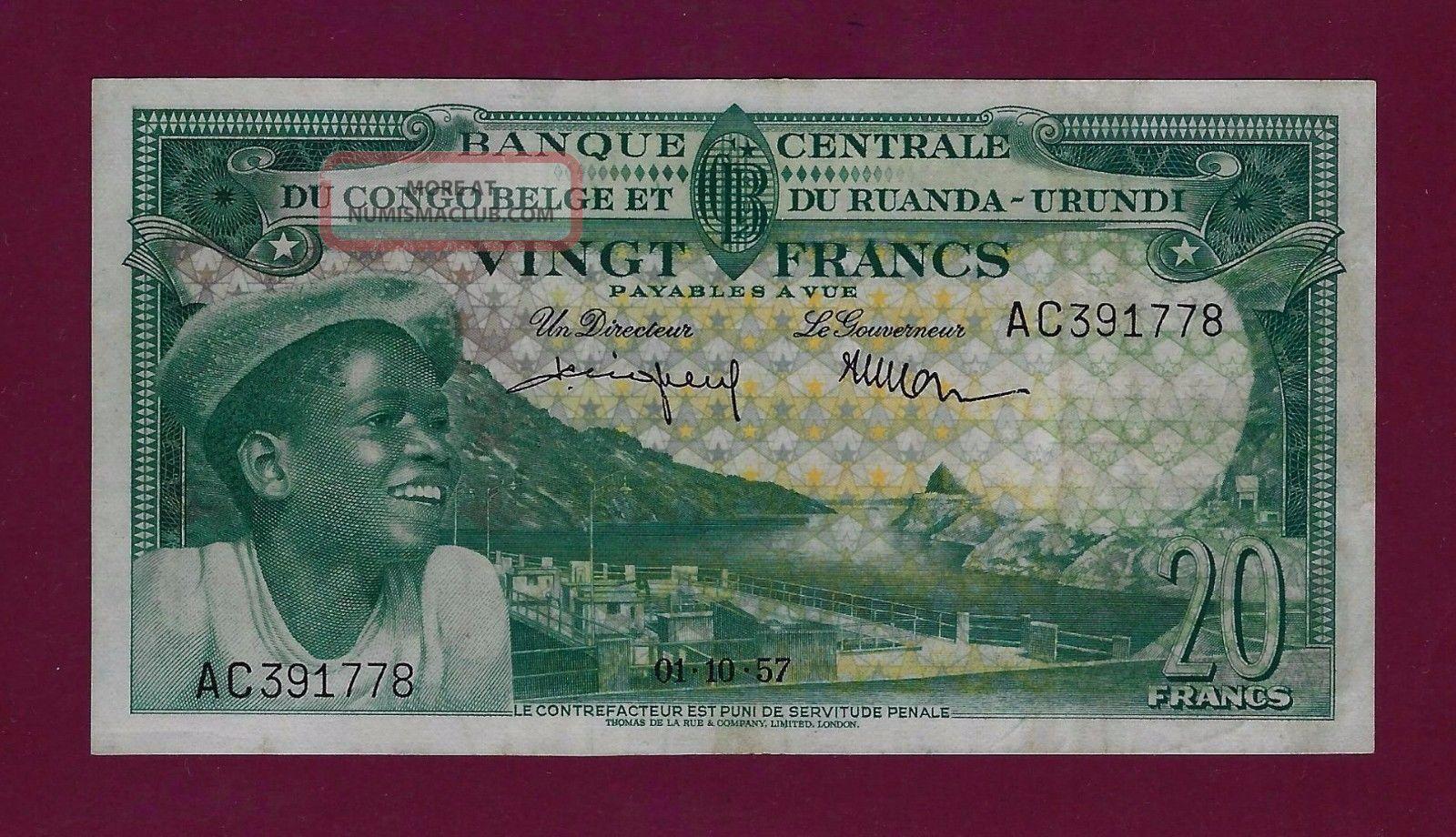 Belgian Congo 20 Francs 1957 P - 31 Xf Rare Belgium Zaire Ruanda Burundi Africa photo