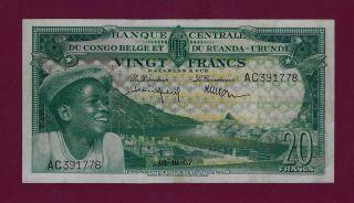 Belgian Congo 20 Francs 1957 P - 31 Xf Rare Belgium Zaire Ruanda Burundi photo
