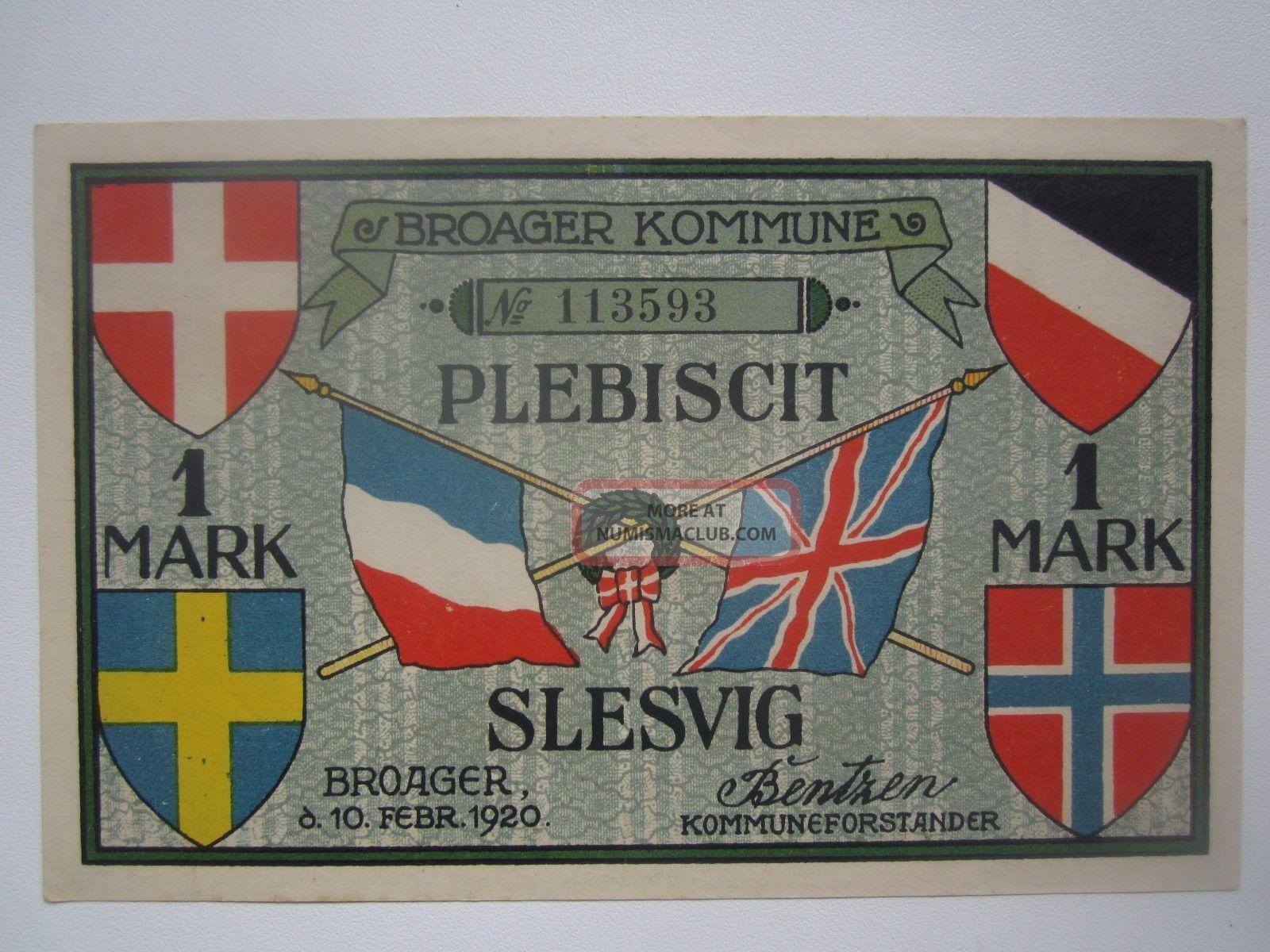 1920 Denmark Broager 1 Mark Plebiscit Europe photo