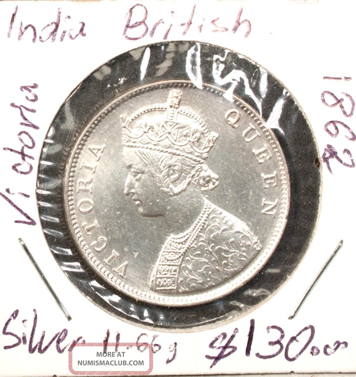 India 1 Rupee 1862 Unc Silver Queen Victoria India photo