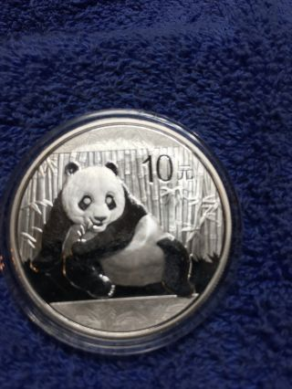 2015 China 10 Yuan Panda 1 Oz 0.  999 Silver Unc In Capsule photo