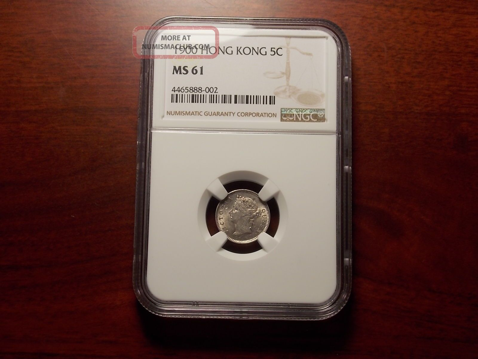 1900 Hong Kong 5 Cents Silver Coin Ngc Ms - 61 Asia photo