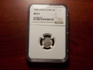 1900 Hong Kong 5 Cents Silver Coin Ngc Ms - 61 photo