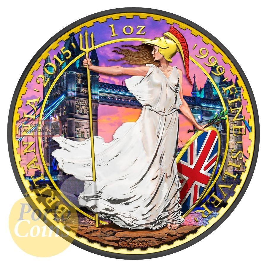 2015 1oz £2 Gbp Uk Silver Britannia London Bridge Colorized 24k Gold Brexit UK (Great Britain) photo