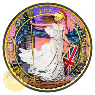 2015 1oz £2 Gbp Uk Silver Britannia London Bridge Colorized 24k Gold Brexit photo