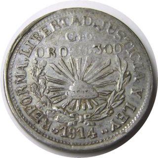 Elf Mexico Revolution Guerrero 1 Peso 1914 Silver/gold Zapata photo