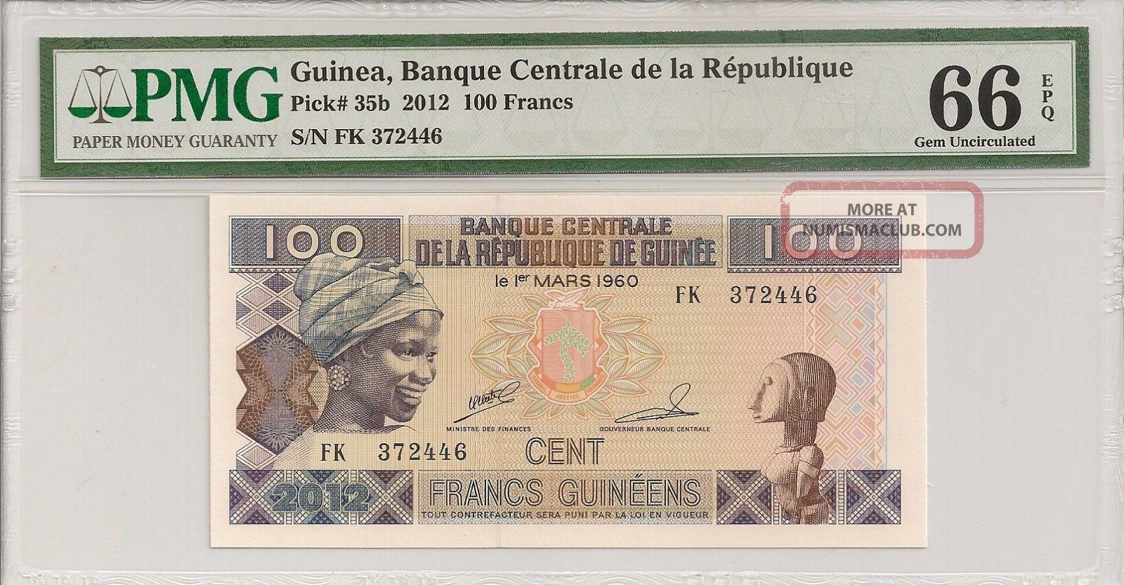 P - 35b 2012 100 Francs,  Guinea,  Banque Centrale De La Republique,  Pmg 66epq Africa photo