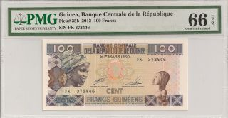 P - 35b 2012 100 Francs,  Guinea,  Banque Centrale De La Republique,  Pmg 66epq photo