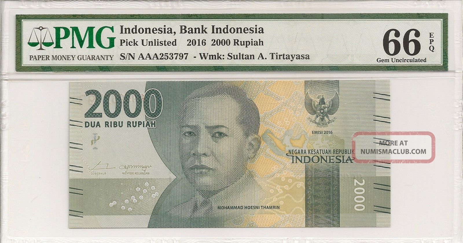 P - Unl 2016 2000 Rupiah,  Bank Of Indonesia,  Pmg 66epq Asia photo