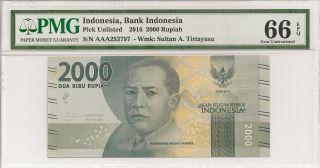 P - Unl 2016 2000 Rupiah,  Bank Of Indonesia,  Pmg 66epq photo