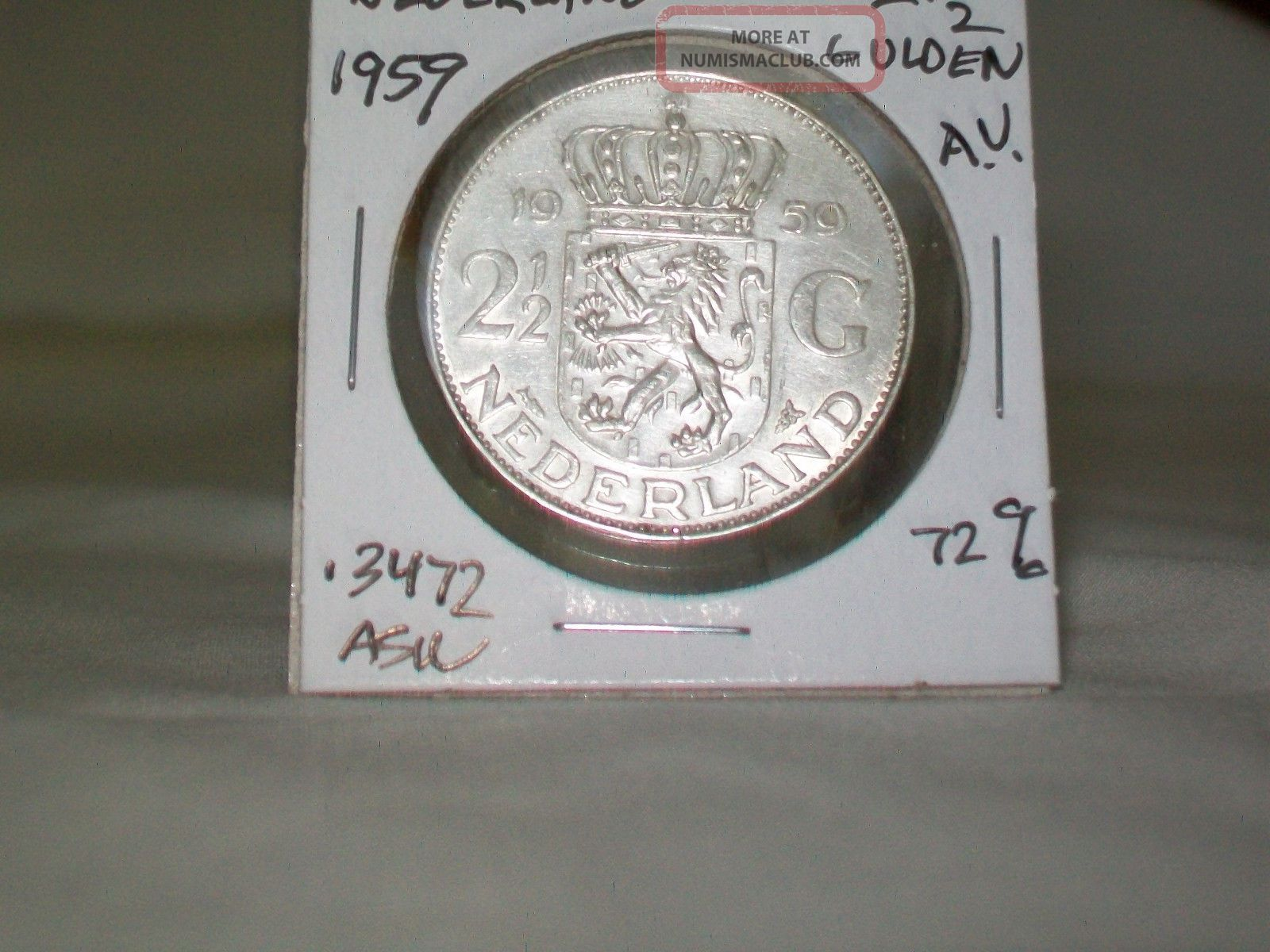 1959 Netherlands,  Juliana,  2 - 1/2 Gulden Silver,  Km:185,  Bright Netherlands photo