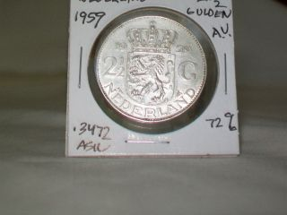 1959 Netherlands,  Juliana,  2 - 1/2 Gulden Silver,  Km:185,  Bright photo