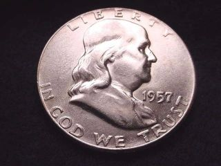 1957 Franklin Half Dollar Half Dollar - - 730 photo