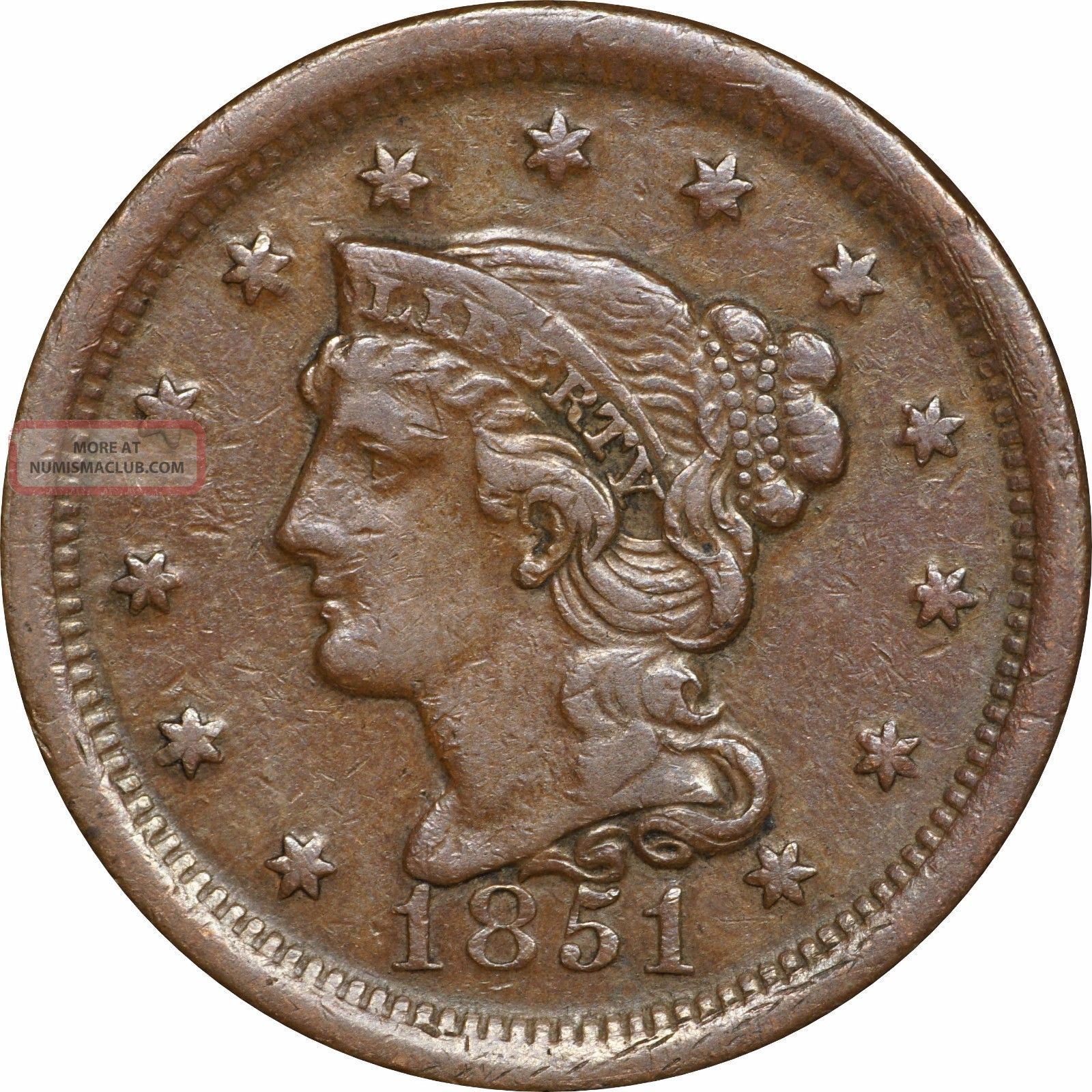 1851 Braided Hair Large Cent,  Glossy Chocolate Brown Planchet,  Vf To Xf Large Cents photo