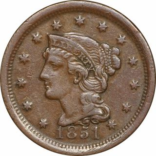 1851 Braided Hair Large Cent,  Glossy Chocolate Brown Planchet,  Vf To Xf photo