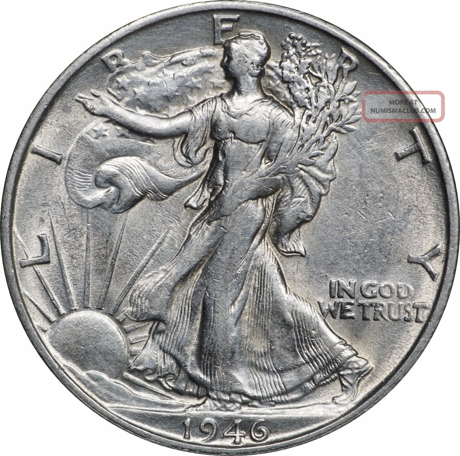 1946 - S Walking Liberty Half Dollar,  Lightly Cleaned Au,  About Uncirculated Liberty Walking (1916-47) photo