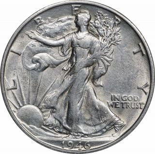 1946 - S Walking Liberty Half Dollar,  Lightly Cleaned Au,  About Uncirculated photo