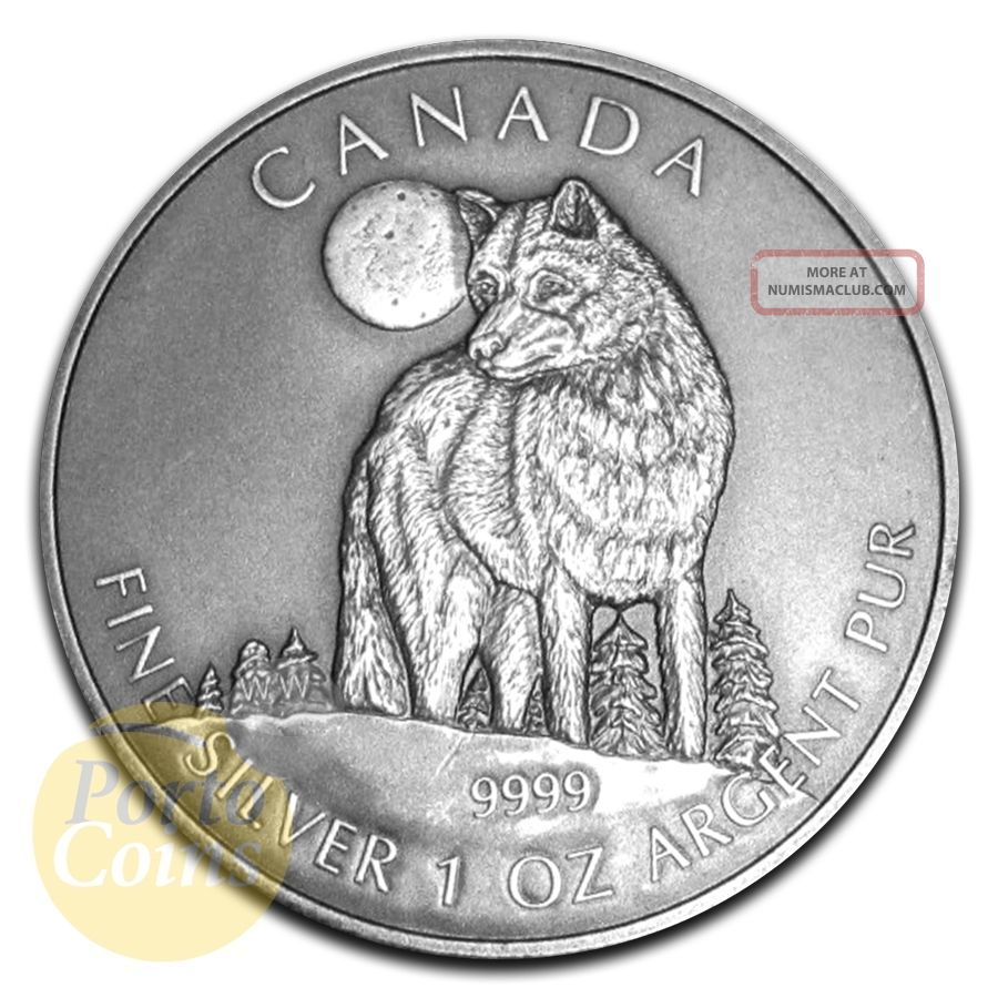 2011 1oz $5 Canadian Wildlife Series Silver Timber Wolf Antique Finish Coin Coins: Canada photo